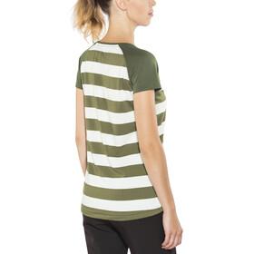 Bergans Filtvet Tee Dame white/khaki green striped/seaweed